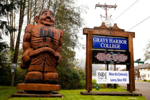 Grays Harbor College entry, Aberdeen, WA USA