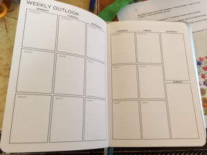 weekly view of a blank planner