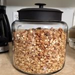 A Very large glass jar of granola