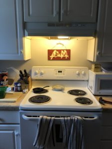 Electric Kitchen stove with four burners. Light above the stove is on there is a red wooden plaque with the silhouette of four birds and the word love