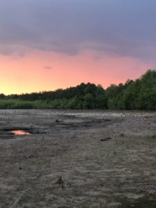 vibrant orange to purple sunset over a dry lake bed framed by trees