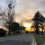 The sun rising in the distance behind trees and clouds at the end of the street.