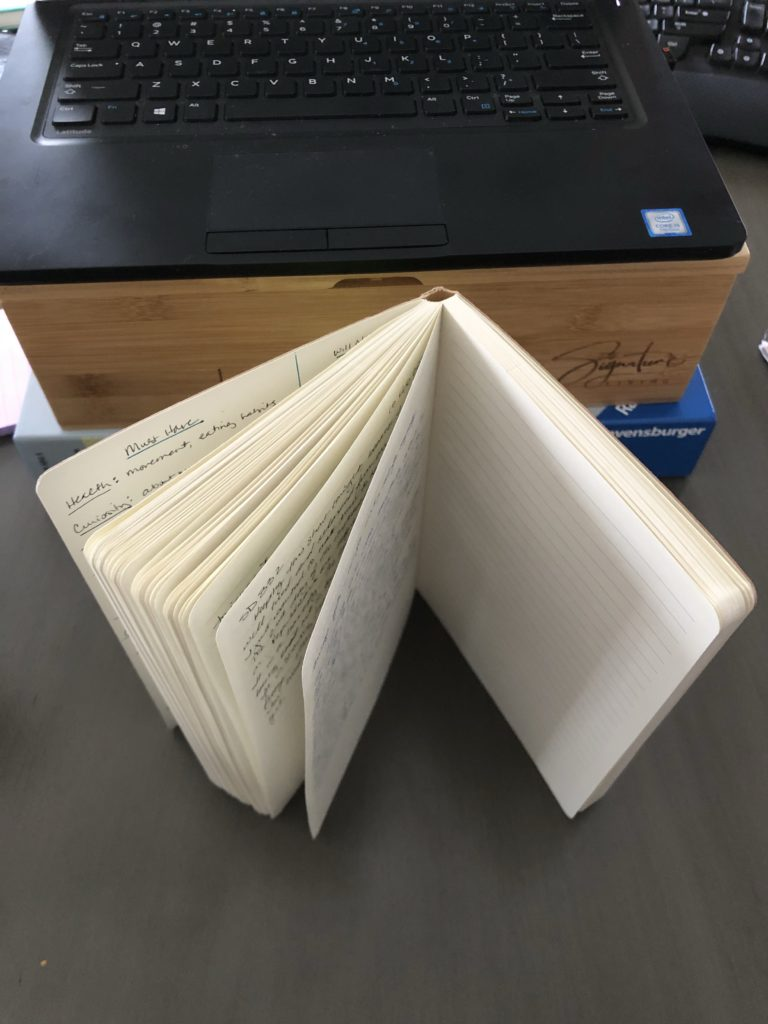 A journal standing on end and open about half way.  It is shot from above and you can see how the already written on pages fan out more freely than the remaining blank pages.