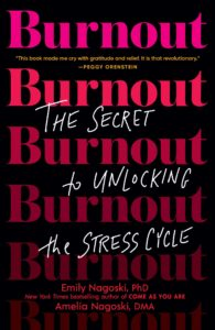 Book cover for Burnout. The title Burnout written in red across a black background, repeated all down the front of the book.  The top versions vivid, the bottom versions fading.  In between each line, in whit a protion of the subtitle written in white: the secret of unlocking the stress cycle.